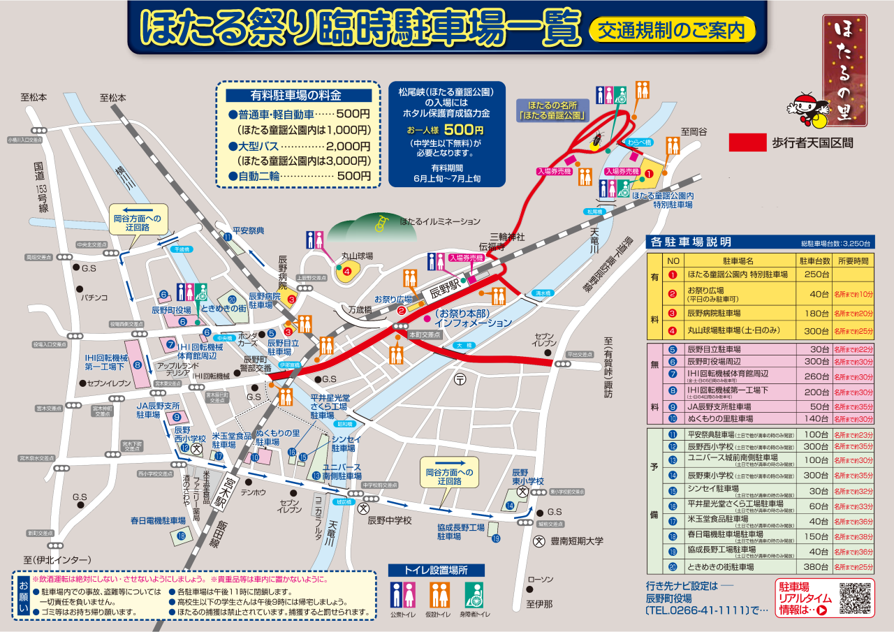 辰野ほたる祭り 駐車場